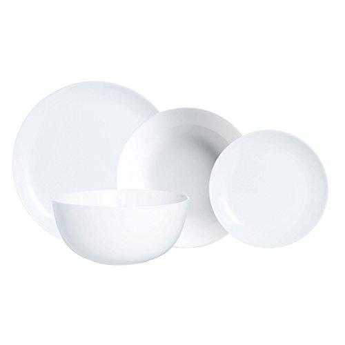 Blanco// Negro Servicio de Platos Para 12 Personas bonitos 38 Unidades Luminarc
